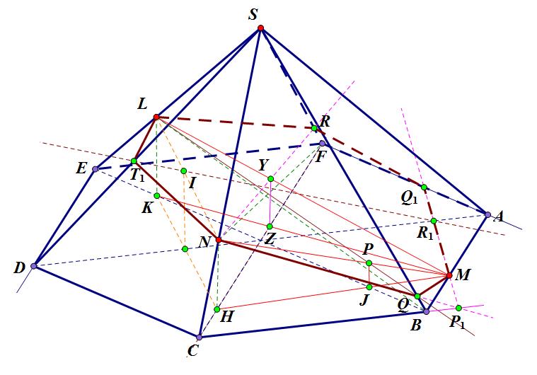 Построение сечения шестиугольной пирамиды